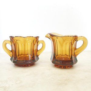 OLD WILLIAMSBURG AMBER Glass Creamer & Open Sugar
